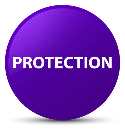 Protection isolated on purple round button abstract illustration