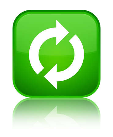 Update icon isolated on special green square button reflected abstract illustration Stock Photo