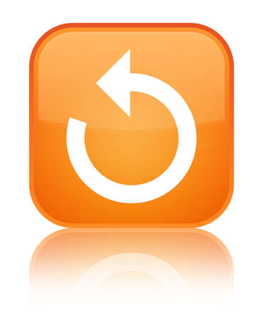 Refresh arrow icon isolated on special orange square button reflected abstract illustration