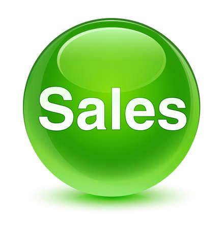 Sales isolated on glassy green round button abstract illustration Stock Photo