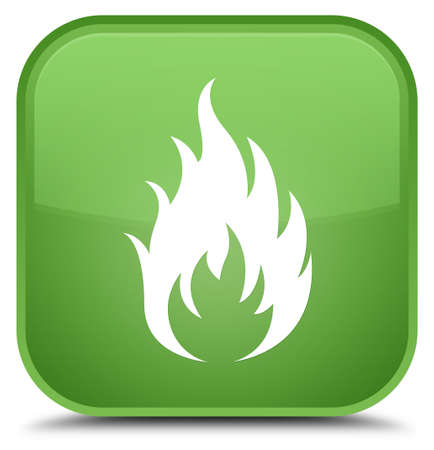 Fire icon isolated on special soft green square button abstract illustration Stock Photo