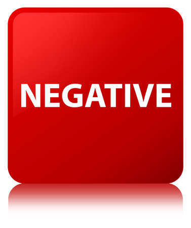 Negative isolated on red square button reflected abstract illustration