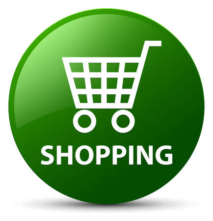 Shopping isolated on green round button abstract illustration Stock Photo