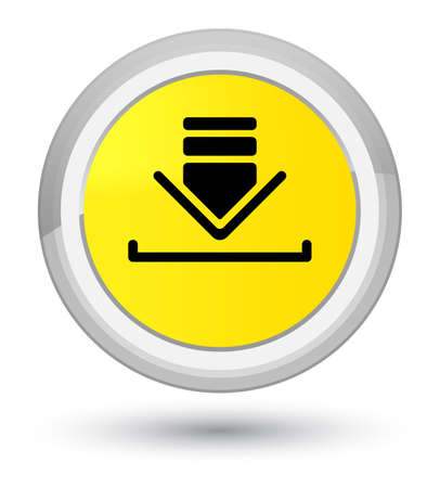 Download icon isolated on prime yellow round button abstract illustration