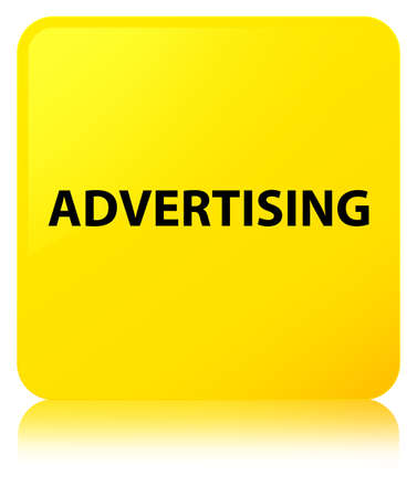 Advertising isolated on yellow square button reflected abstract illustration