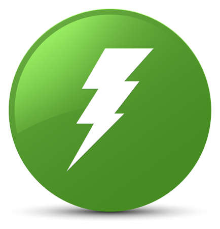 Electricity icon isolated on soft green round button abstract illustration
