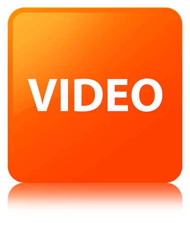 Video isolated on orange square button reflected abstract illustration Stock Photo