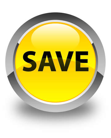Save isolated on glossy yellow round button abstract illustration