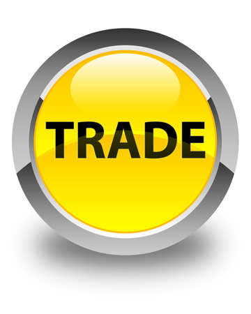Trade isolated on glossy yellow round button abstract illustration