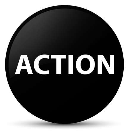 Action isolated on black round button abstract illustration
