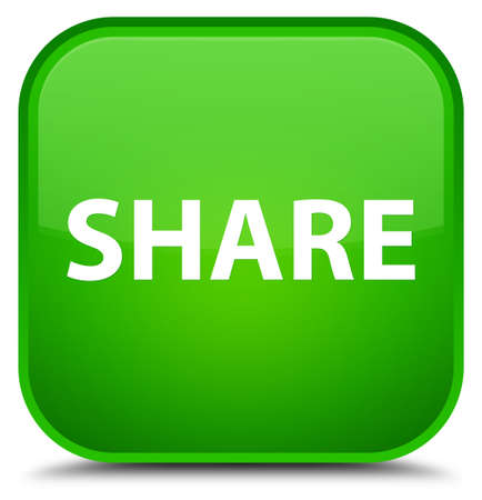 Share isolated on special green square button abstract illustration