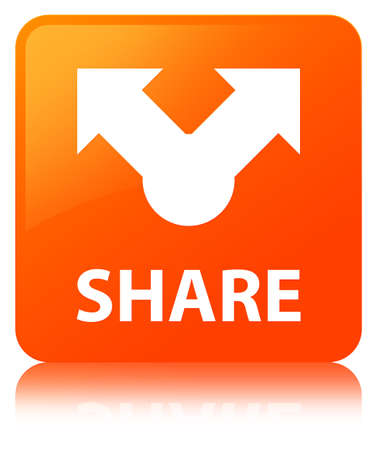 Share isolated on orange square button reflected abstract illustration