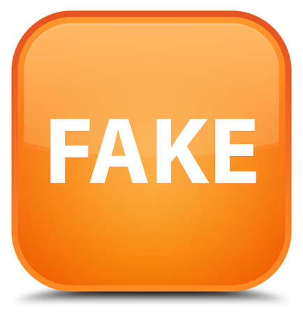 Fake isolated on special orange square button abstract illustration Stock Photo