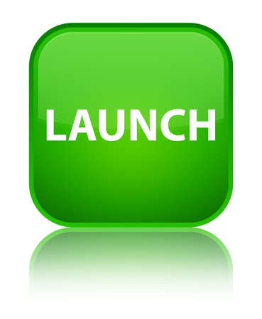 Launch isolated on special green square button reflected abstract illustration
