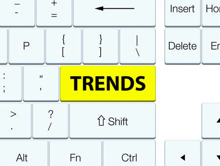 Trends isolated on yellow keyboard button abstract illustration Stok Fotoğraf
