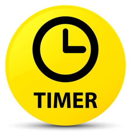 Timer isolated on yellow round button abstract illustration Stock Photo