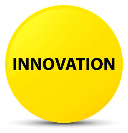 invent: Innovation isolated on yellow round button abstract illustration
