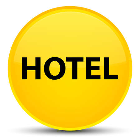 Hotel isolated on special yellow round button abstract illustration Stock Photo