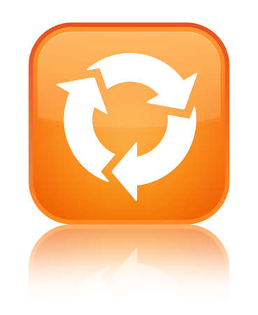 Refresh icon isolated on special orange square button reflected abstract illustration
