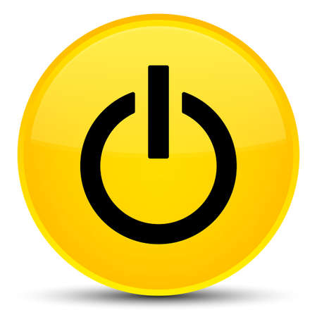 Power icon isolated on special yellow round button abstract illustration
