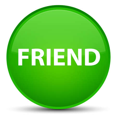 Friend isolated on special green round button abstract illustration