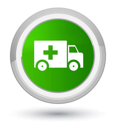 Ambulance icon isolated on prime green round button abstract illustration