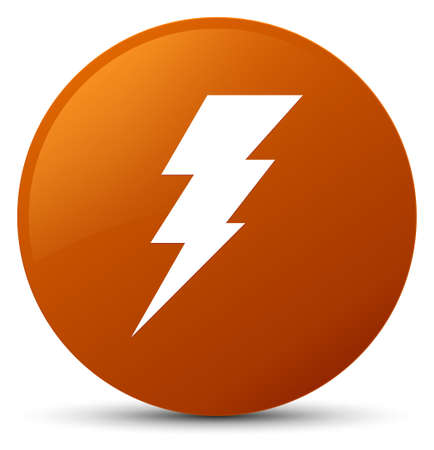 Electricity icon isolated on brown round button abstract illustration Stock Photo
