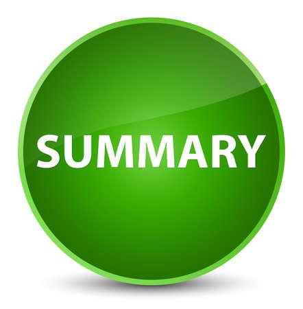 Summary isolated on elegant green round button abstract illustration Stok Fotoğraf