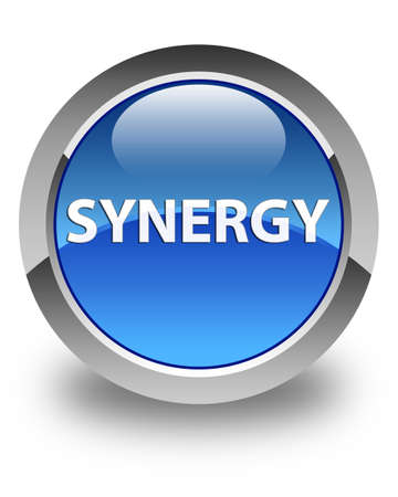 Synergy isolated on glossy blue round button abstract illustration Zdjęcie Seryjne