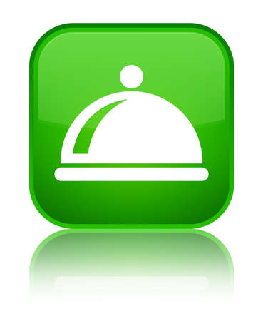 Food dish icon isolated on special green square button reflected abstract illustration
