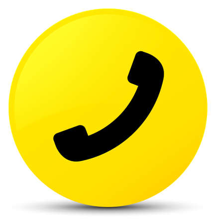 Phone icon isolated on yellow round button abstract illustration