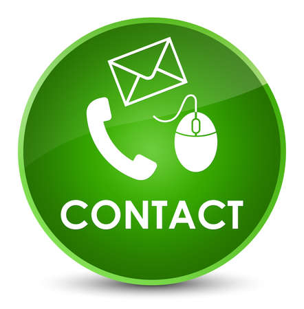 Contact (phone email and mouse icon) green isolated on elegant round button abstract illustration
