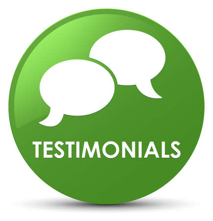 Testimonials (chat icon) isolated on soft green round button abstract illustration Stock Photo