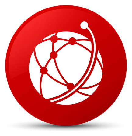 Global network icon isolated on red round button abstract illustration