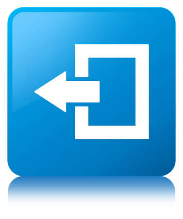 Logout icon isolated on cyan blue square button reflected abstract illustration