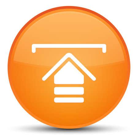 Upload icon isolated on special orange round button abstract illustration Standard-Bild