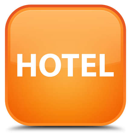 Hotel isolated on special orange square button abstract illustration