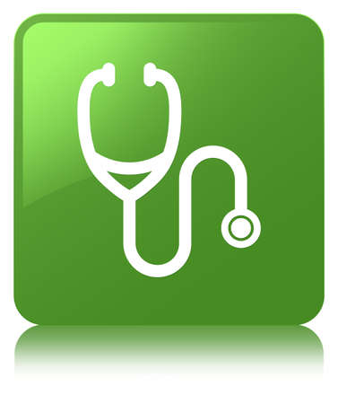 Stethoscope icon isolated on soft green square button reflected abstract illustration