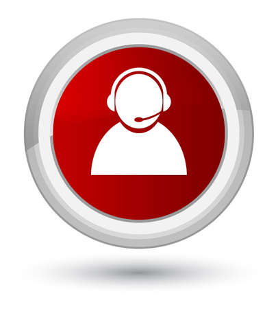 Customer care icon isolated on prime red round button abstract illustration Stock Photo