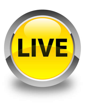 Live isolated on glossy yellow round button abstract illustration