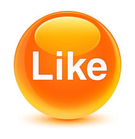 Like isolated on glassy orange round button abstract illustration Stock Photo