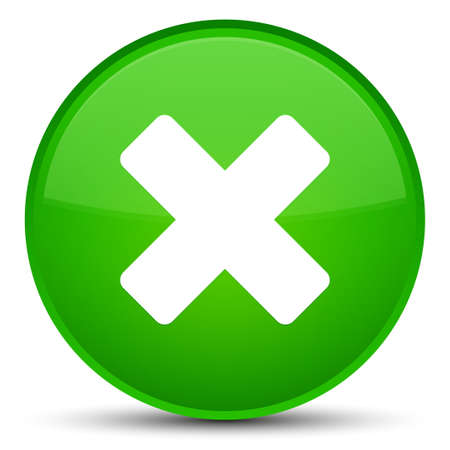 Cancel icon isolated on special green round button abstract illustration