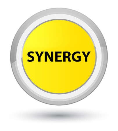 Synergie op eerste gele ronde knoop abstracte illustratie die wordt geïsoleerd Stockfoto