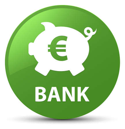Bank (piggy box euro sign) isolated on soft green round button abstract illustration Stock Photo