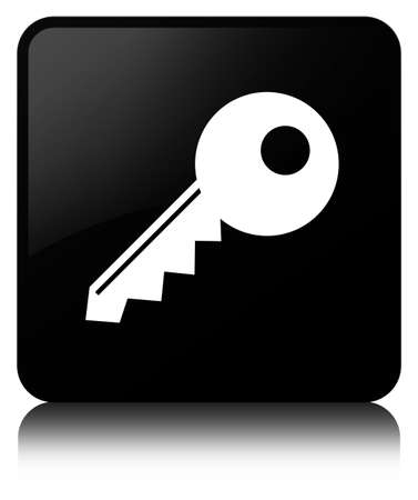 Key icon isolated on black square button reflected abstract illustration Фото со стока