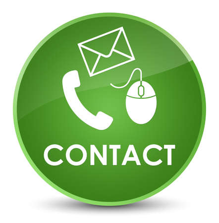 Contact (phone email and mouse icon) soft green isolated on elegant round button abstract illustration Stock Photo