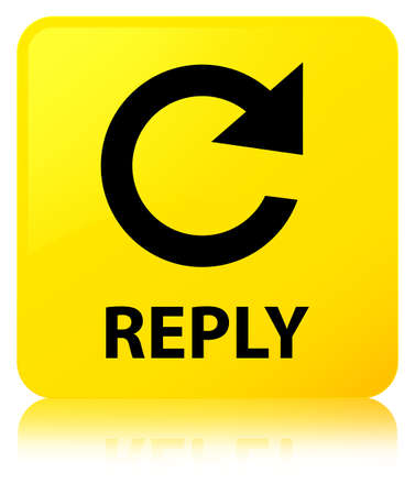 Reply (rotate arrow icon) isolated on yellow square button reflected abstract illustration Stock Photo