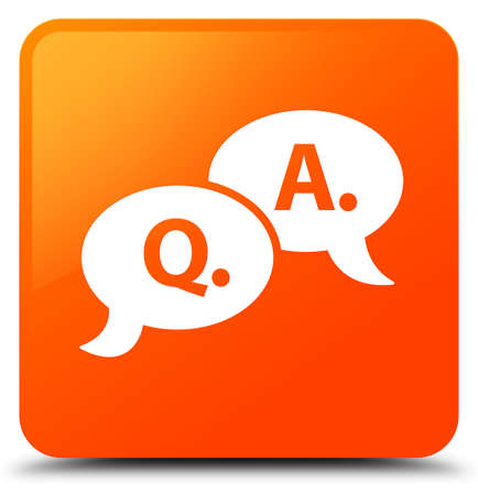 Question answer bubble icon isolated on orange square button abstract illustration Stock Photo