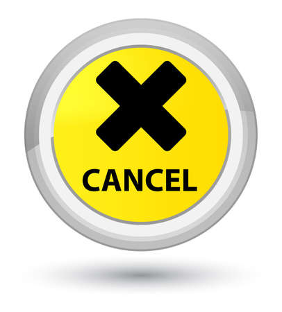 Cancel isolated on prime yellow round button abstract illustration Stock Photo