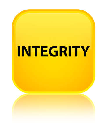Integrity isolated on special yellow square button reflected abstract illustration